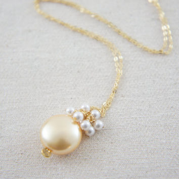 Gold coin pearl and white pearls necklace with gold vermeil chain, wedding, bridesmaid, mother of bride, gift, message card