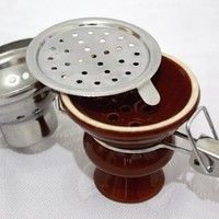 Hookah Shisha Bowl with Stainless Steel Wind Cover - BROWN Ceramic Bowl and Metal Screen for Hooka Nargila