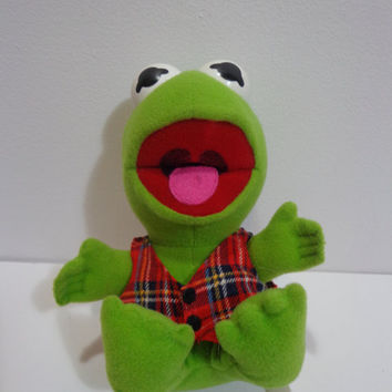 80s Collectible Muppet Babies Christmas Kermit the Frog Stuffed Plush Toy McDonalds 1987, Retro Gift Under 10