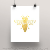Bumble Bee Faux Gold Foil Art Print - White & Gold - Gold Office Decor  - Imitation Gold Leaf - Girl Room Decor, Home Office Wall Art