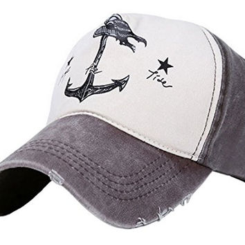 His-and-Hers Anchor Print Adjutable Hat Baseball Cap Brown & Jasper