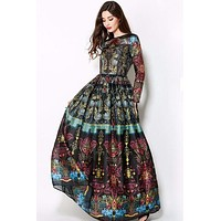 Vintage Elegant Empire Ball Gown Temperamental Slim Retro Print Maxi Dress