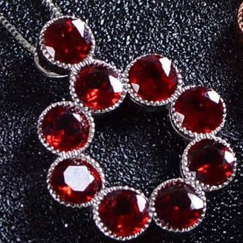 Natural red garnet stone pendant S925 silver Natural gemstone Pendant Necklace trendy big Round ball women jewelry