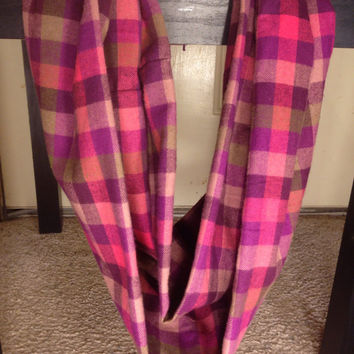 Women's-Plaid-Flannel-Infinity Scarf-Accessories-Handmade-Fall-Winter-Girl's-Mommy and Me-Kid's-Gifts for her-Purple