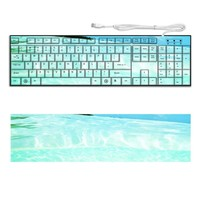 Beach Ocean Teal Green Clear Keyboard Customized Made to Order Support Ready 16 7/8 inch (430mm) x 4 7/8 inch (125mm) x 15/16 inch (25mm) High Quality MSD Key board Boards desktop laptop Key_board comfortable computer accessories cute gaming gear