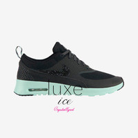 Nike Air Max Thea shoes w/Swarovski Crystals detail - black/teal