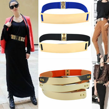 High Quality Fashion Women Cummerbund Wide Waist Corset Buckle Strap Mirror Band Bling Metal Belt Waistband 8 Colors A182a