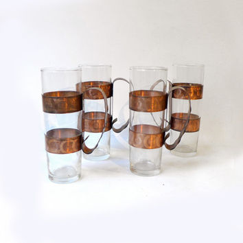 Vintage mid century modern set long tall glass and hand wrought copper beer glasses, retro bar