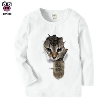 Super Mario party nes switch Kid's Long Sleeve Kawaii 3D Cat Printed Funny T Shirt Boys Girls Autumn Harajuku Tops Casual Winter Funny Cat in The T-Shirt AT_80_8