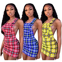 Women Striped Backless Suspender Mini Dress