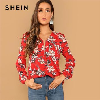 SHEIN Red Casual Floral Print Pocket Zip Half Placket V Neck Long Sleeve Blouse Vacation Holiday Women Tops And Blouses