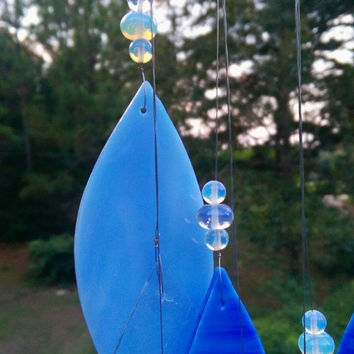 "Illume Studio Handmade ""By the Sea"" Stained Glass Wind Chime with Texas Driftwood and Sea Opal Glass Beads"