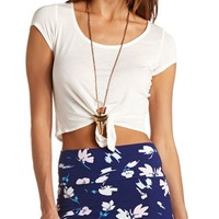 SHORT SLEEVE TIE-FRONT CROP TOP