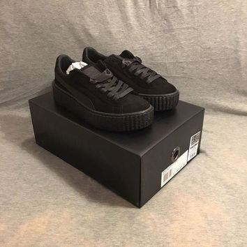 PEAPON Puma Suede Creepers Fenty By Rihannna UK 3 Black Mono Satin Authentic Creeper