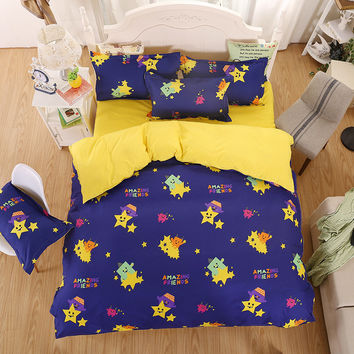 Best Sale Children Favourite colorful little princess cartoon printed for single bed kids bedding set girls