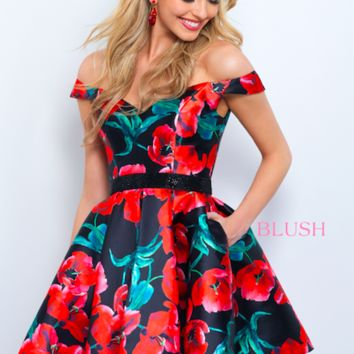 Blush 11360 Floral Off The Shoulder Dress