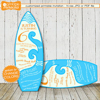 Surfboard shaped invitation, Custom digital printable surf birthday invite card, Customized blue orange kids surfing summer beach party