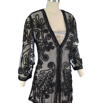 Black Soutache Embroidered Mesh Jacket