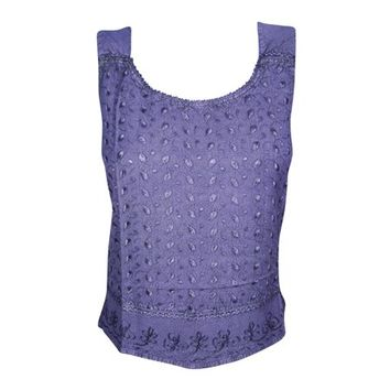 Mogul Beautiful Floral Embroidered Blouse Purple Sleeveless Round Neck Tie Back Summer Style Top - Walmart.com