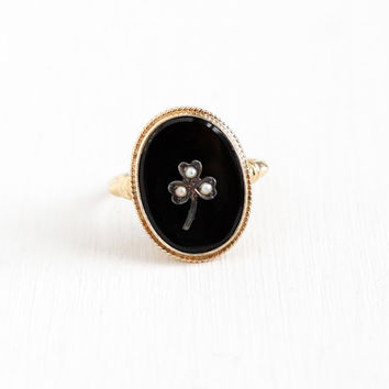 Vintage 10k Yellow Gold Black Onyx & Seed Pearl Silver Three Leaf Clover Ring - 1930s Size 6 1/2 Art Deco Oval Gem Shamrock Fine Jewelry