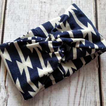 Navy Aztec Turban Headband