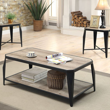 Acme Oldlake 3Pc Pack Coffee/End Table Set, Antique Light Oak & Black