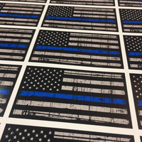 Thin Blue Line American Flag Sticker - Distressed American Flag Decal - Thin Blue Line Decal - Thin Blue Line Sticker - Car Truck Decal etc