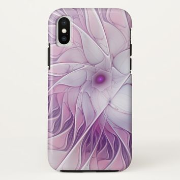 Beautiful Pink Flower Modern Abstract Fractal Art iPhone X Case