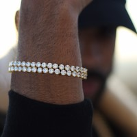 Round Cut Iced Out Gold Tennis Bracelet