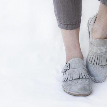 Fringed Frost  Suede Leather Women's Brogue Shoes   Custom Fit