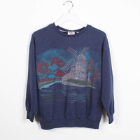 Vintage 80s Sweatshirt Faded Navy Blue Windmill Fall Autumn Nature Screen Screen Print 1980s Sweatshirt Tshirt Pullover Sweater M Medium