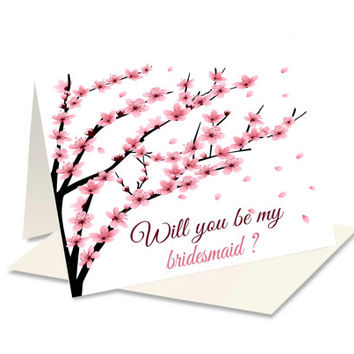 Will You Be My Maid - Bridesmaid Proposal - Bridesmaid Card - Pink Cherry Blossom - Be My Bridesmaid - Be My Maid Of Honor - Ask Bridesmaids