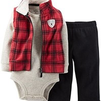 Carter's Baby-Boys 3-Piece Plaid Microfleece Vest Pant Set (6 Months, Red)