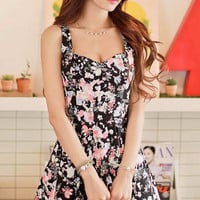 Floral Print Sleeveless Sweetheart Neckline Pleated Mini Dress