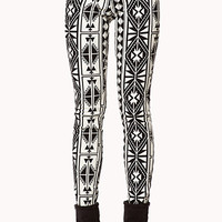 Tribal Print Denim Skinny Jeans