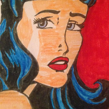 "Pop art style portrait~ One person~ Solid background~ 5.5"" x 8.5"""