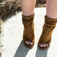 Asha Tan Peep Toe Booties
