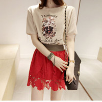Beige Girl Print Lace Dress
