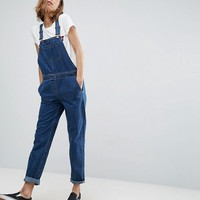 ASOS Denim Dungaree in Stonewash Blue at asos.com