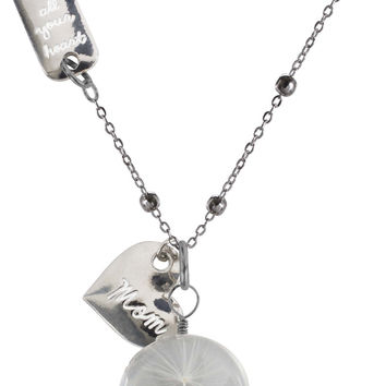 """Mom - 29"""" Sweater Necklace with Glass Wish Pendant"""