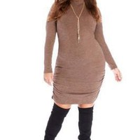 Sweater Ruched Designer Plus Size Dresses Autumn Long Sleeve