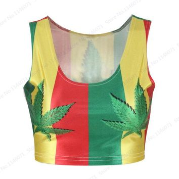 Running Vests Jogging South Africa Style  Cropped Red Yellow Stripes Fitness Bustier Crop Top Green Leaves Ladies Blouses Contrast Color KO_11_1