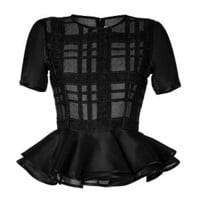 Prabal Gurung - Plaid Peplum Top in Black