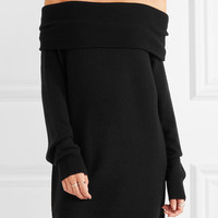 T by Alexander Wang - Off-the-shoulder wool and cashmere-blend dress