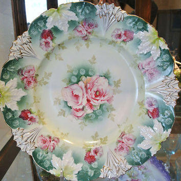 """RS Prussia Platter Rare size 12"""" Leaf Variation Mold rs Prussia Wreath and Star Mark Art Nouveau Full Blossom Pink Roses Victorian Porcelain"""