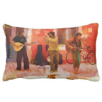 Street Musicians Playing Guitar Mandolin and Flute Pillow