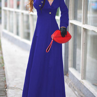 Blue Long Sleeve Buttoned Woolen Long Trench Coat