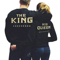 Couple Hoodie Sweatshirt The King and His Queen-Love Matching Shirts Couple Tee