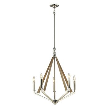 31475/5 Madera 5 Light Chandelier In Polished Nickel And Natural Wood