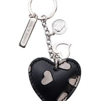 Heart Hand Painted Leather Keychain-Grey Hearts